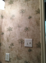 Same original wallpaper as the 1st bathroom.